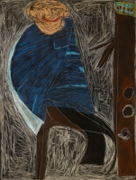 2004, Kreide, Ölkreide, schwarz grundierte Leinwand, 130 x 175 cm