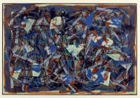 Collage, Ölkreide auf Zeitungspapier, 56 x 80 cm
