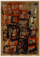 Collage, Ölfarbe, Kreide, Kohle, 70 x 100 cm