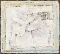 Collage, Leinwand, Papier, Acryl, Faltungen, 21 x 19 cm