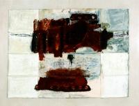 Ölfarbe auf Rückseite von Stofflandkarte, 80 x 107 cm