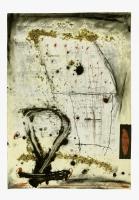 1990, Hornspäne, Ölkreide, Gouache, 53 x 74 cm