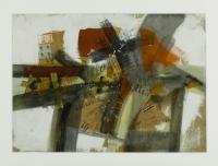 1986, Collage, Briefmarken, Stempel auf Papier, 85 x 60 cm
