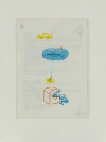 1999, Buntfarbe auf bedrucktem Papier, 18 x 26 cm